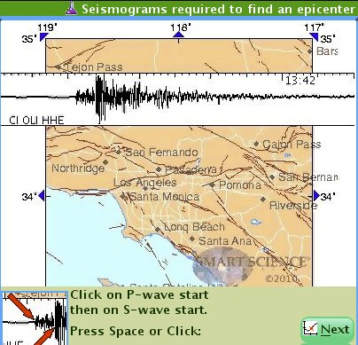 screen shot of Earthquakes real online lab
