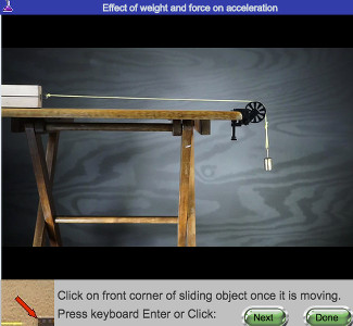 screen shot of Friction and Motion real online lab