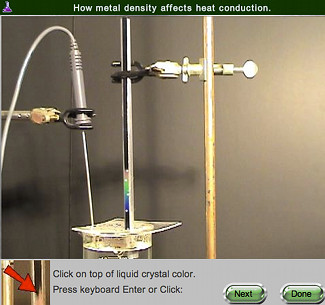 screen shot of Heat Conduction in Solids online lab