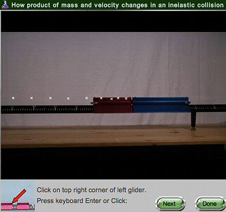 screen shot of Inelastic Collisions, Mass real online lab